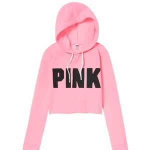 NEW PINK VS cropped cutoff pullover hoodie M